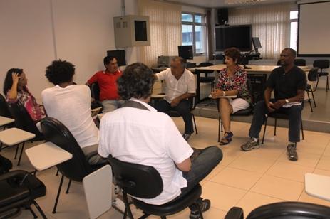 De frente, os coordenadores sindicais Célio Izidoro, Etur Zehuri e Dirceu José dos Santos, ao lado do ex-diretor sindical Luiz Fernando Rodrigues Gomes. Foto: Generosa Gonçalves