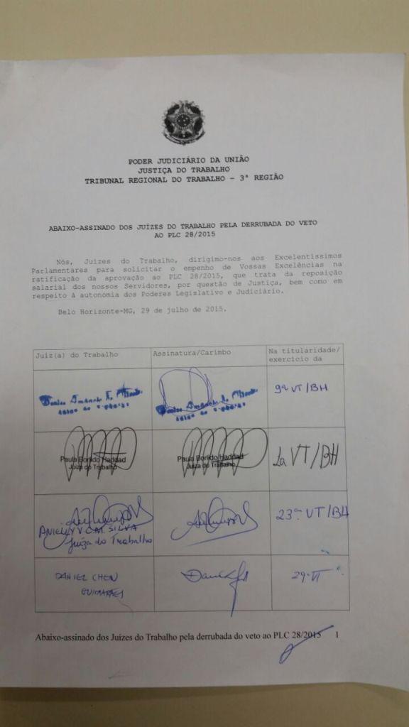 Abaixo-assinado - Justiça do Trabalho - Primeiro Grau -  Página 01