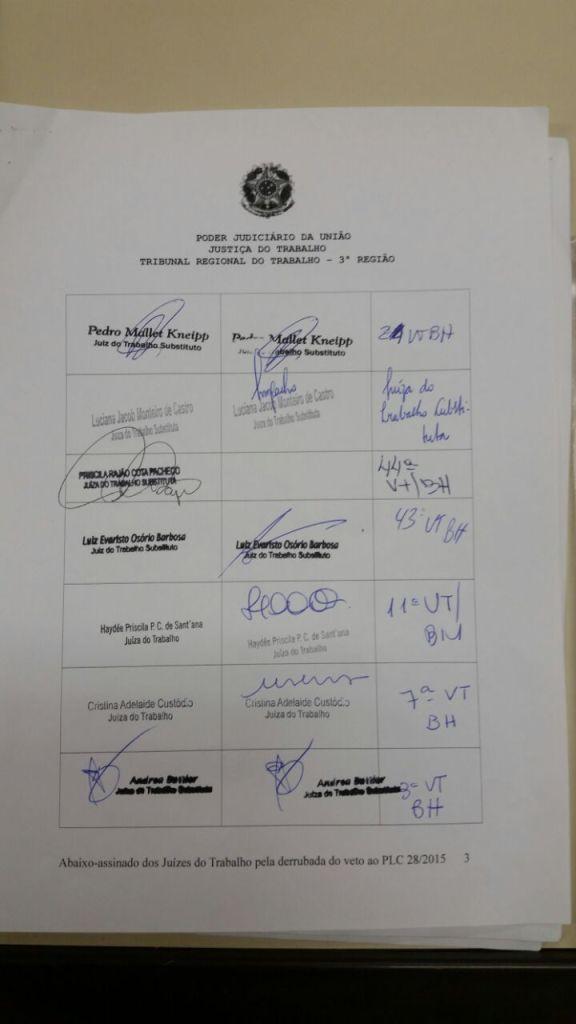 Abaixo-assinado - Justiça do Trabalho - Primeiro Grau -  Página 03