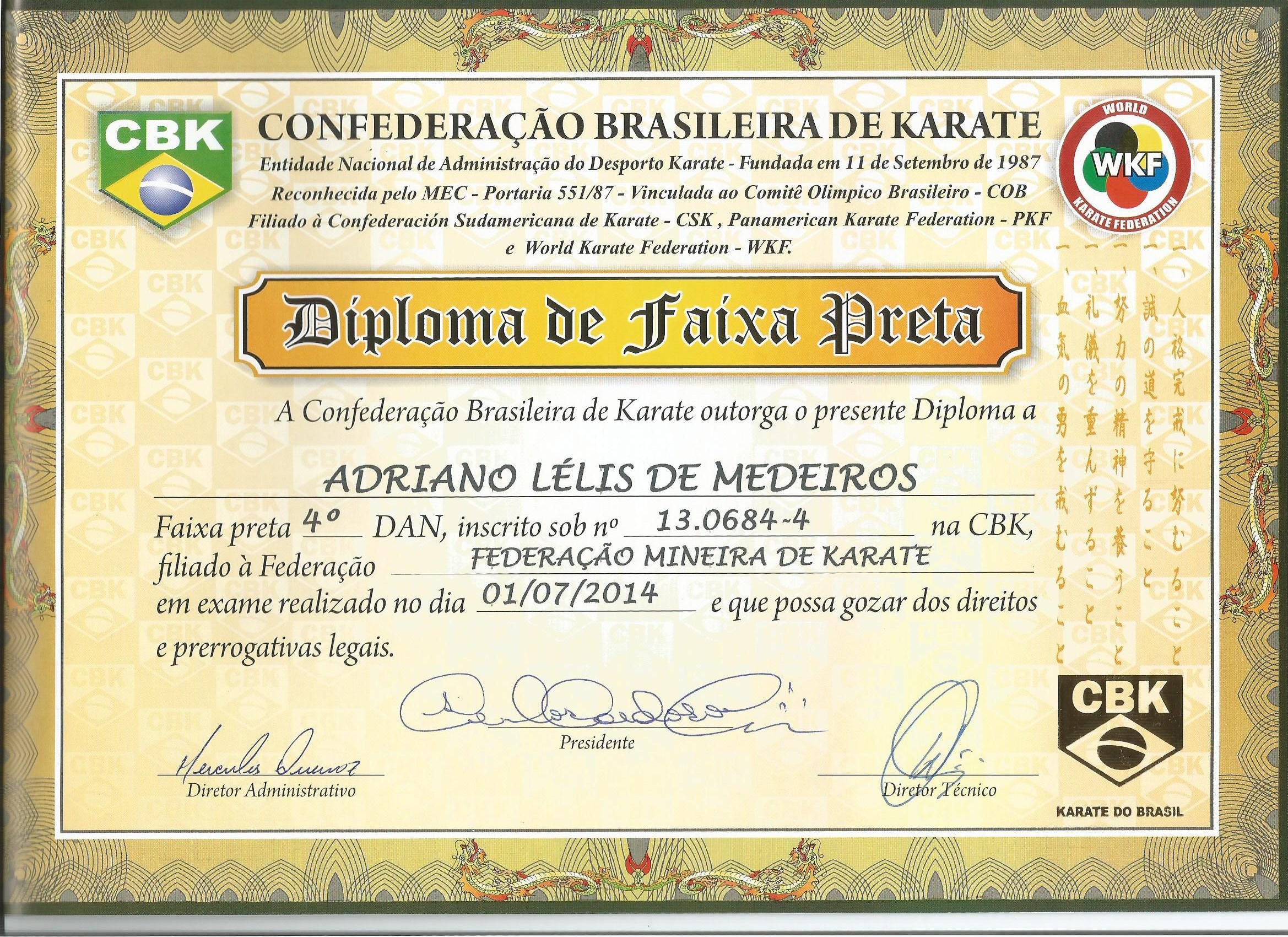 Diploma - 4º Dan
